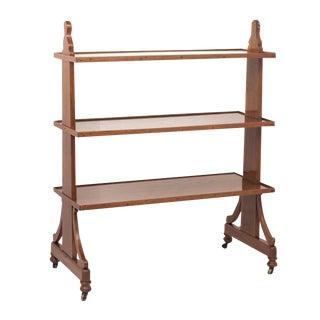 19th Century English Walnut Server Book Shelves For Sale