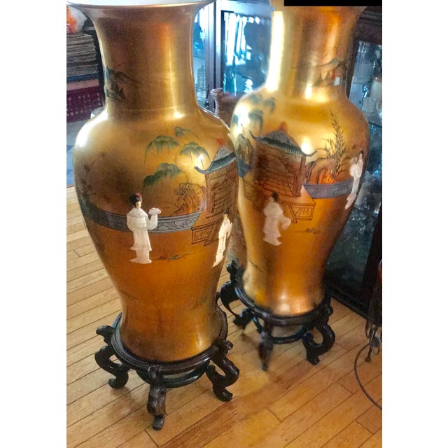 Vintage Oriental Hand Painted Porcelain Vases With Mother-Of-Pearl - a Pair For Sale - Image 4 of 12