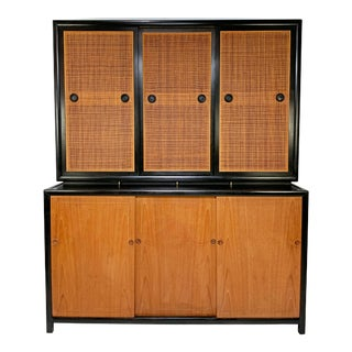 Michael Taylor Baker Furniture New World Collection Two-Piece Credenza Cabinet For Sale