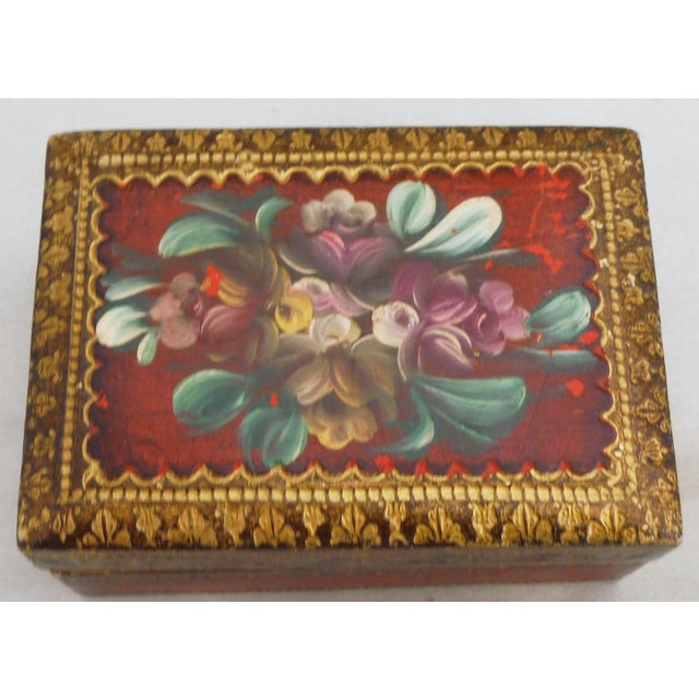 Florentine Red & Gilded Wood Box - Image 3 of 5