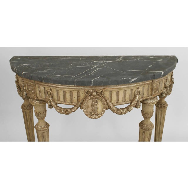 Neoclassical Pair of 18th Century Italian Neoclassical Silver Gilt Demilune Consoles For Sale - Image 3 of 6