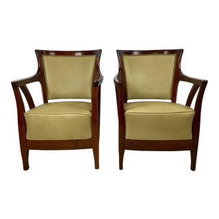 Walnut and Leather Vienna Secessionist Club Chairs - a Pair For Sale