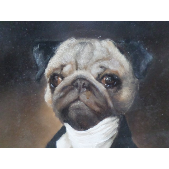 Portrait of a Pug, Contemporary Oil on Board For Sale In Philadelphia - Image 6 of 9
