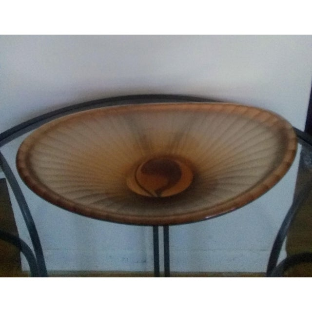 "This Salmon colored oblong centerpiece bowl is executed in the ""battuto"" fashion. This stunning piece is in excellent..."