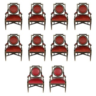 Expressive Set of Ten French Chairs For Sale