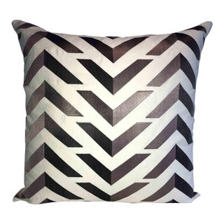 Embroidered Taupe and Walnut Wash Chevron Designer Down Feather Pillow For Sale