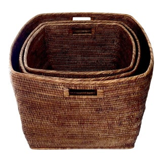 Hand-Made Rattan Nesting Baskets - Set of 3
