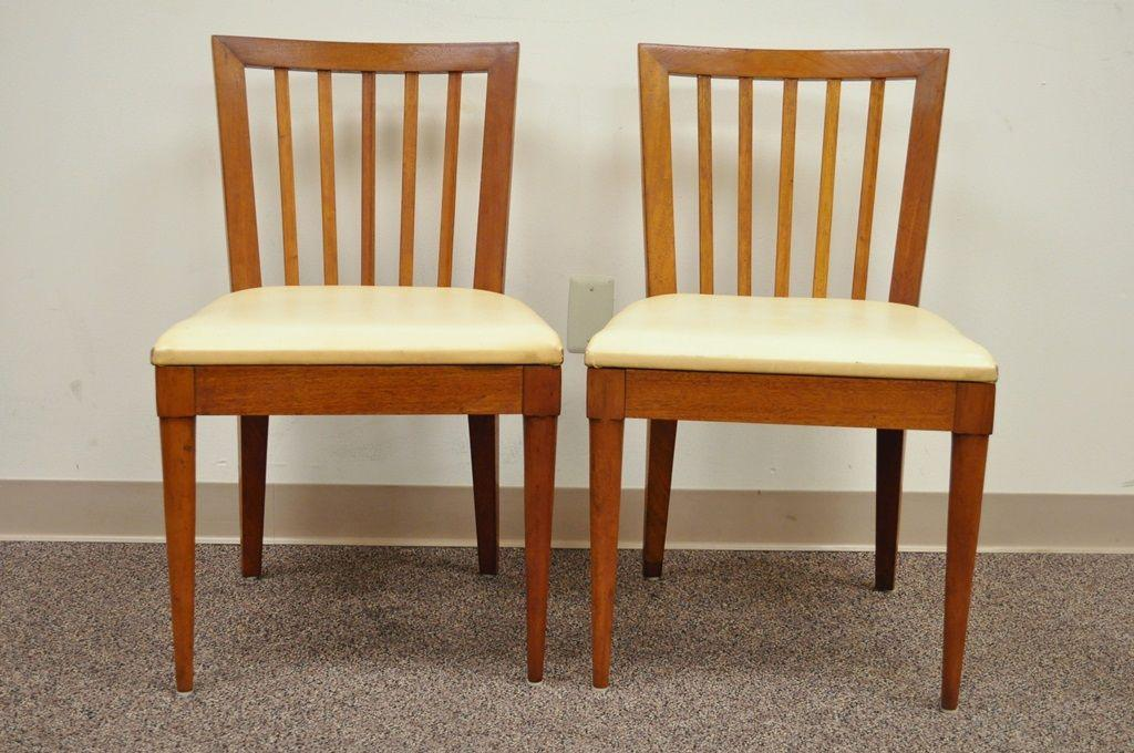 Pair Vintage Mid Century Modern Maple Slat Back Dining Chairs Paul McCobb  Style   Image 2