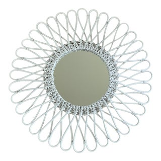 Vintage White Woven Wicker Bentwood Sunburst Mirror For Sale