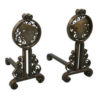 Pair of French Wrought Iron Andirons For Sale