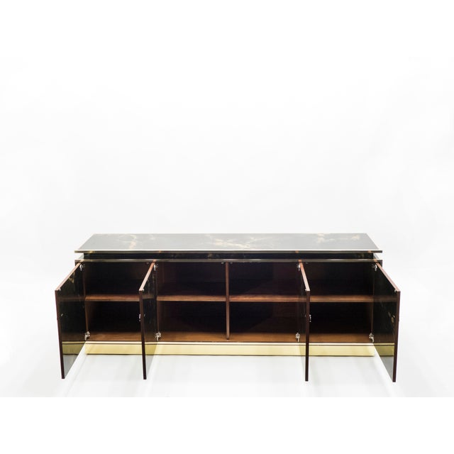 Rare Golden Lacquer and Brass Maison Jansen Sideboard 1970s For Sale - Image 6 of 13