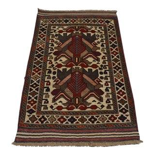 Traditional Turkish Tribal Brick Red and Tan Wool Kilim Rug