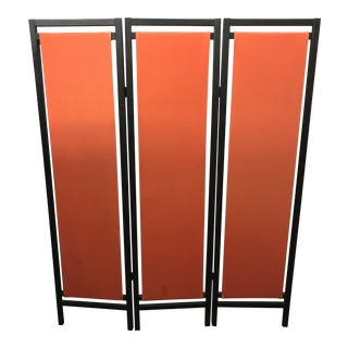 1960's Asian Modern Orange and Black Screen Divider For Sale