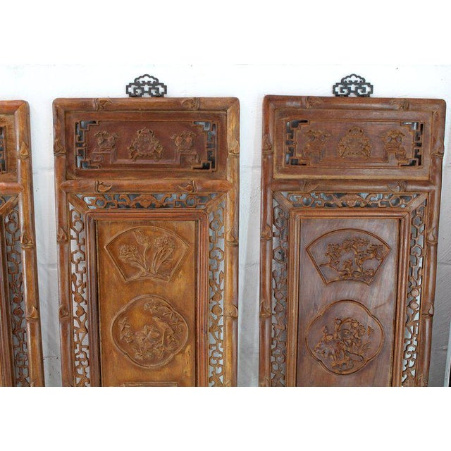 Asian 1920s Asian Carved Wall Panels - Set of 3 For Sale - Image 3 of 8