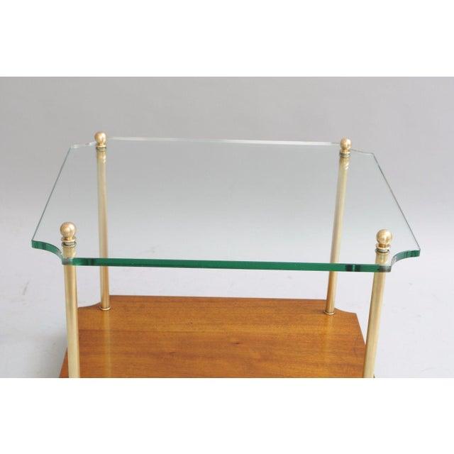 Mid Century Modern Walnut Brass Glass Table - Image 5 of 11