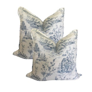 Cottage Vintage Blue and White Toile Pillows - a Pair For Sale