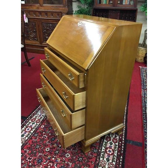 Vintage Traditional Beals Maple Secretary Desk For Sale - Image 4 of 10