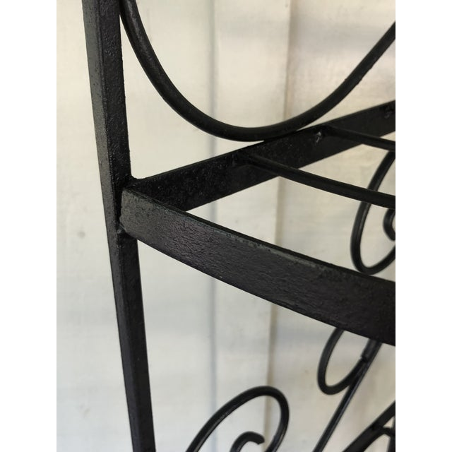 Mid-Century Modern Vintage Wrought Iron Corner Bakers Rack For Sale - Image 3 of 5