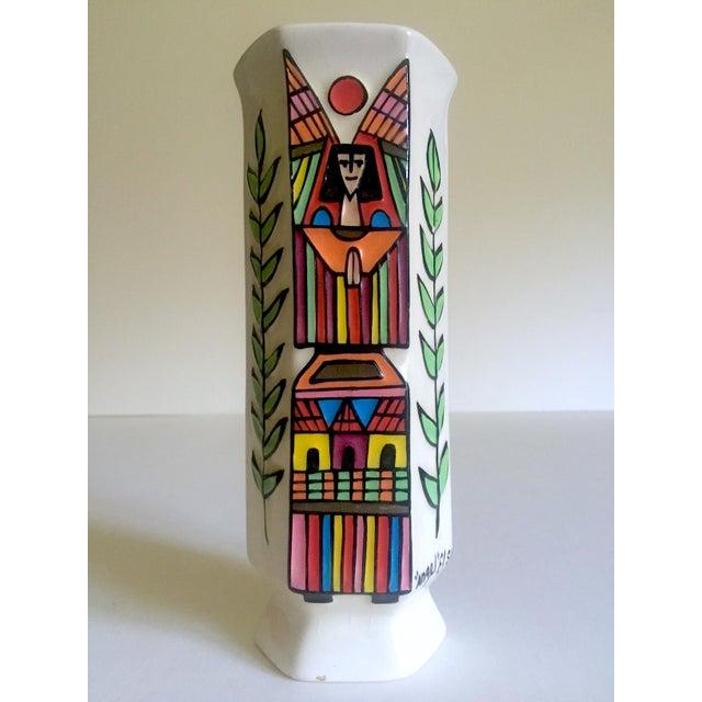 Vintage Mid Century Modern El Salavdor Rare Art Pottery Hand Painted Signed Angel Vase For Sale - Image 13 of 13