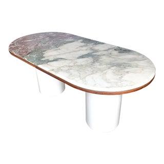 Double Pedestal Tri-Color Stone Table For Sale
