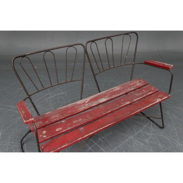 Mid-Century Modern Mid Century Garden Steel Bench Settee For Sale - Image 3 of 5