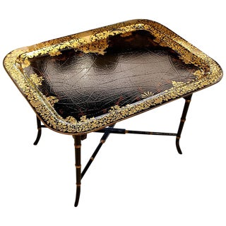 19th Century English Traditional Papier Mâché Painted & Gilded Tray Table For Sale