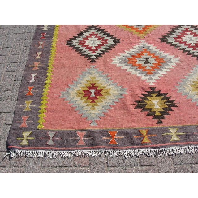 Vintage Turkish Kilim Rug - 6′5″ × 8′9″ For Sale - Image 9 of 11