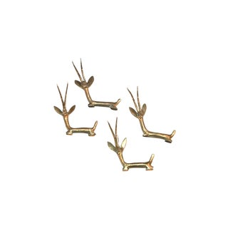 1970s Modern Brass Antelope Knife Rests - Set of 4 For Sale