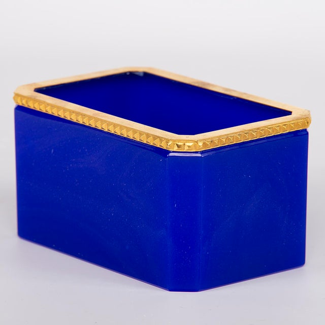 1920s French Royal Blue Opaline Glass Dish With Brass Mounts For Sale - Image 5 of 8