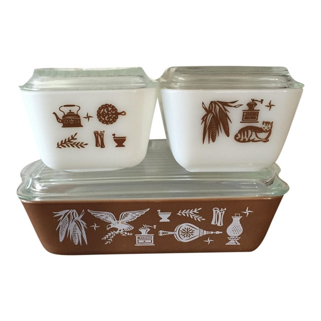 Pyrex Early American Refrigerator Dishes - S/4 For Sale