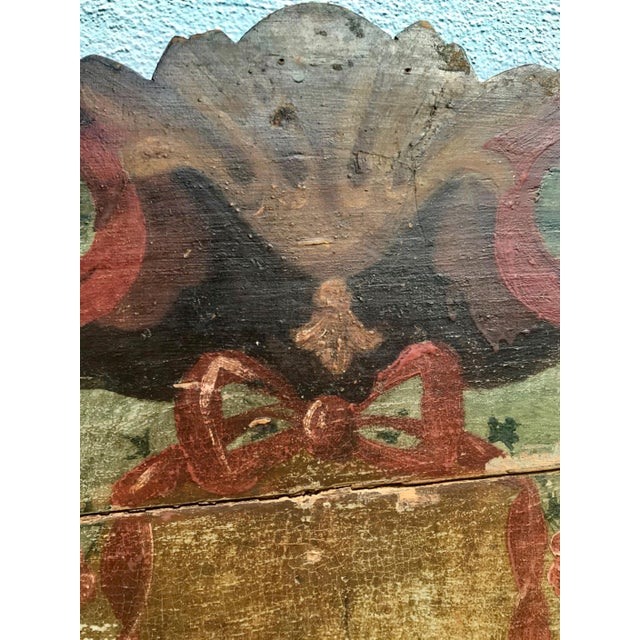 19th Century New England Hand Painted Wooden Headboard For Sale In West Palm - Image 6 of 12