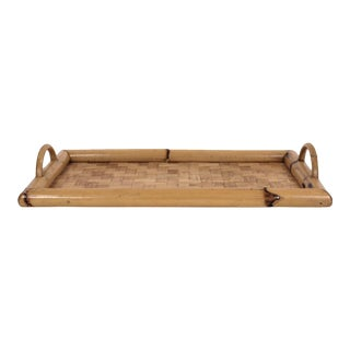 Bamboo & Woven Rattan Serving Tray For Sale