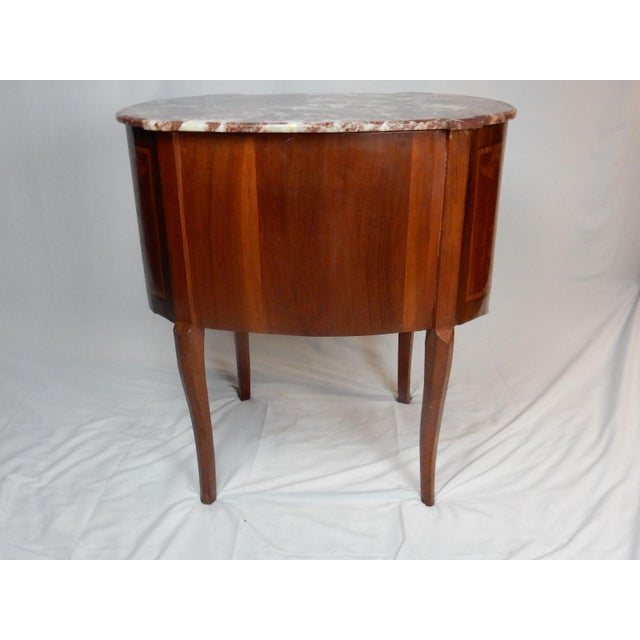 19th C. Italian Marquetry Marble Top Inlaid Table For Sale - Image 6 of 11