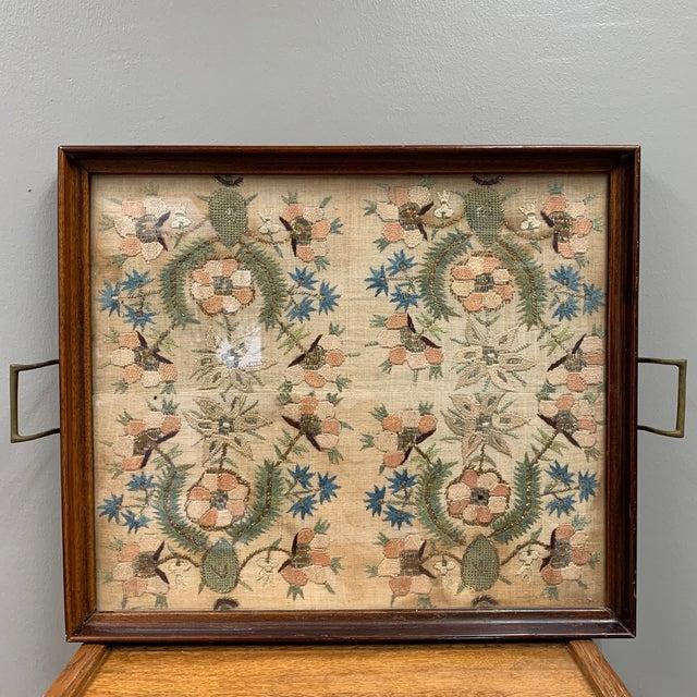 Vintage Glass Framed Textile Tray For Sale - Image 13 of 13