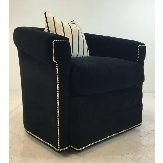 Original Retail $2937, stylish Hickory White Elegant Black Microfiber Velvet Swivel Club Chair 5405-015, polished nickel...