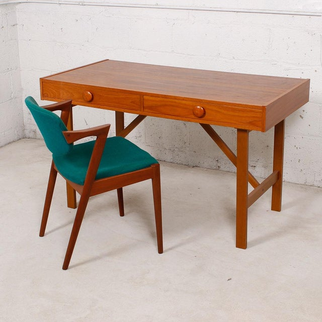 Danish Modern Compact Teak Two Drawer Desk - Image 4 of 6