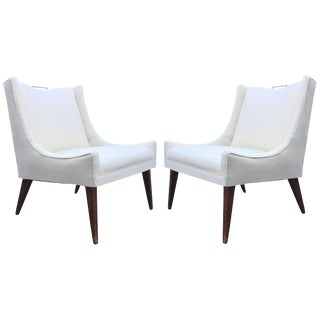 Pair of Swank Vintage Harvey Probber Lounge Chairs With Brass Handle Pulls For Sale