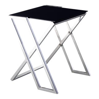 Pasargad Luxe Collection Glass & Steel End Table For Sale