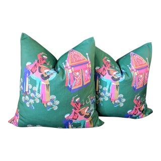 Hamilton Abu Emerald Pillow Covers - A Pair For Sale