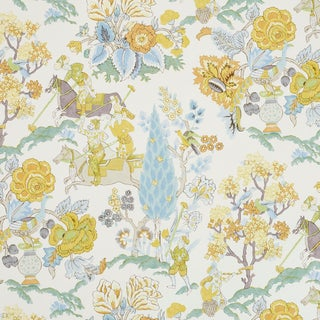 Schumacher Persian Lancers Wallpaper in Citron (8 Yards) For Sale