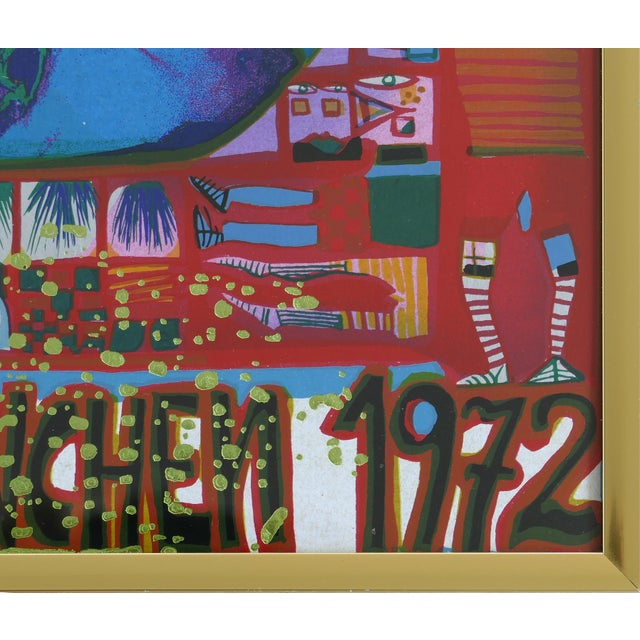 "Metal 1972 Hundertwasser Olympische ""Spiele Munchen"" Serigraph Numbered #2409/3999 For Sale - Image 7 of 11"