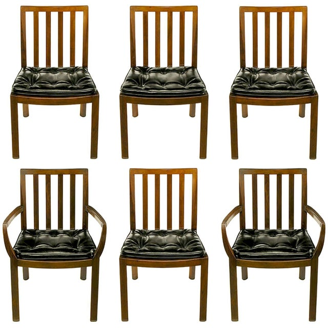 Six Bert England Forward Trend Walnut and Leather Dining Chairs For Sale - Image 11 of 11