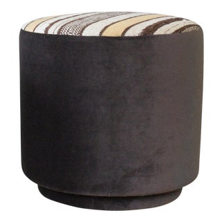 Striped Upholstered Stool For Sale