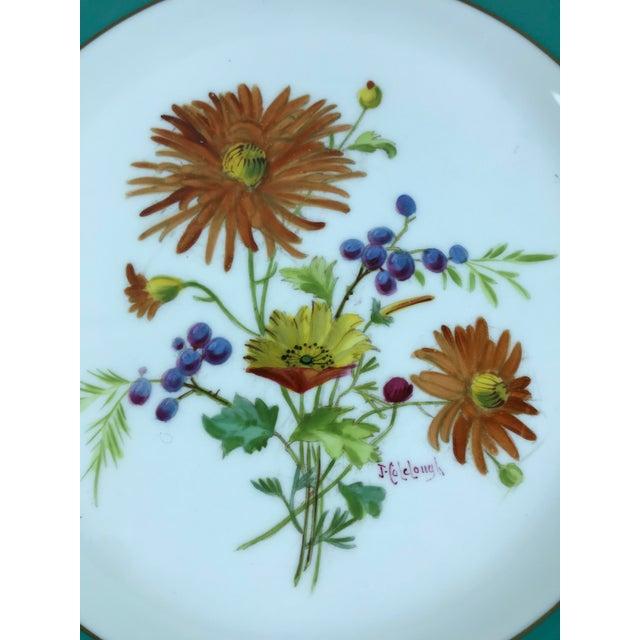 Signed J. Colclough Minton H4780 Hand Painted Floral Aqua Rim Plates - Set of 12 For Sale - Image 9 of 13