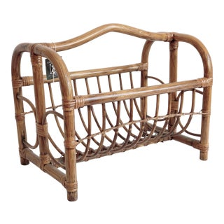 Boho Chic Rattan Magazine Rack For Sale