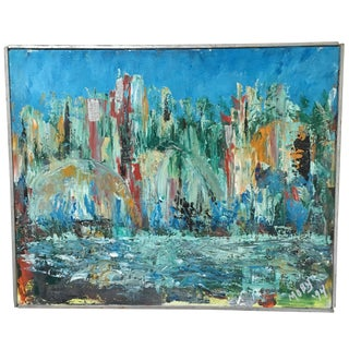 Vintage Abstract Expressionist Cityscape Oil Painting Signed Framed For Sale