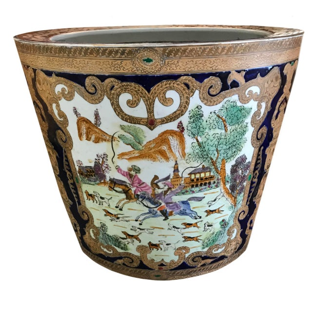 19th Century Chinese Cobalt Porcelain Fishbowl For Sale - Image 4 of 6
