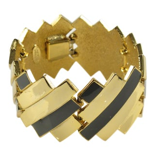 Lanvin Paris Link Bracelet Modernist Gilt Metal and Gray Enamel For Sale