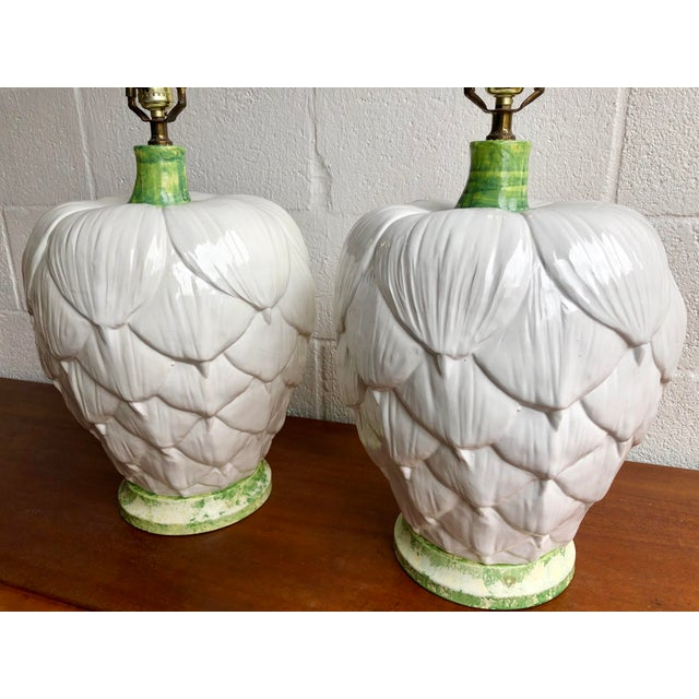 Pair of large ceramic artichoke lamps by Paul Hanson that will add a touch of whimsy to any room.
