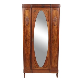 Antique French Wardrobe Cabinet With Oval Mirror For Sale